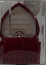 Valentine's Day Gift of Love Glass Teddy Bear in Heart Shaped Box NIB