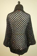 ANTHROPOLOGIE, YOON Black with Multicolor thread open weave sweater, size XS