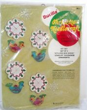 Bucilla Jeweled Doorknob Ornaments Mini Birds Set of 4 Christmas Needlecraft VTG