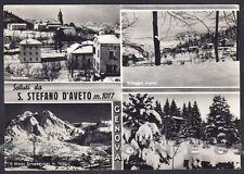 GENOVA SANTO STEFANO D'AVETO 13 SALUTI da.. NEVE Cartolina FOTOGRAF. viagg. 1960
