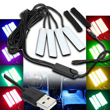 4X LED White Tube Foot light Wireless Bluetooth Control USB RGB Euro