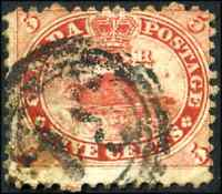 Canada #15iii used VG 1859 First Cents 5c vermilion Beaver 4-ring '31' CV$90.00+