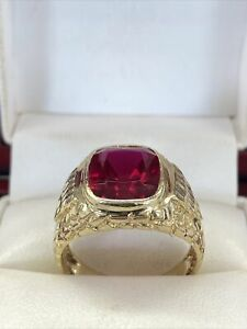❤️Mens 14k Solid Yellow Gold 5 Ct Emerald Red Ruby Vintage Ring Sz 10