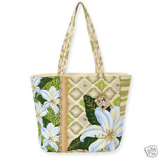 Paul Brent Canvas Shoulder Tote Bag Garden Lily Beige Vacation Resort Bag NWT