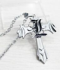 Death Note Letter L Marks Silver Cross Wing Pendant Necklace Anime Cosplay