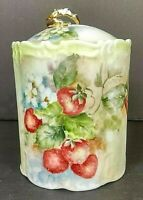 Vintage Biscuit Canister/Jar w/Lid Strawberry Vines/Flowers Gold Painted Handle