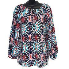 Tolani XS Blouse tunic top silk blue red geometric print ls peasant