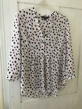Primark White Pink Leopard Print Pintuck Blouse, Size 12