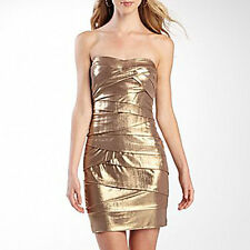 Bisou Bisou Sexy Gold Metallic Strapless Cocktail Party Dress Artichoke Tiers 8