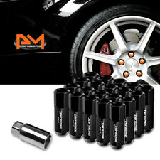 M12X1.25 Black JDM Open-End Acorn Hex Wheel Lug Nuts+Extension 25mmx60mm 20Pc