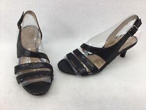 Naturalizer Taimi Black Glitter Slingback Dress Sandals Size 5M K1026