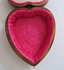 Antique Cedar Wood Wooden Jewelry Trinket Box Treasure Heart Shape Mirror RARE!