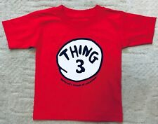 Girls Boys The Cat In The Hat Thing 3 Red Tshirt Age 3 New ❤️