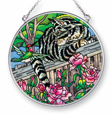 """Cat Hummingbird Sun Catcher AMIA 4.5"""" Round Hand Painted Glass Your Move Flowers"""