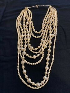 ART TO WEAR...THE EXQUISITE MULTI LAYERS GLASS PEARLS STATEMENT NECKLACE VINTAGE