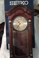 """""""SEIKO"""" WALL PENDULUM CLOCK DARK BROWN OAK CASE"""