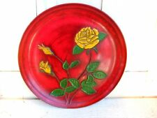 Wales Modernist Industrial Red Round Vintage Barware Serving Party Platter Tray