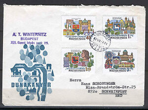 Hungary 0047 FDC 1969 Used by mail 4v City View COAT OF ARM
