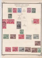 trinidad and tobago mounted mint and used stamps on old album page ref r9030