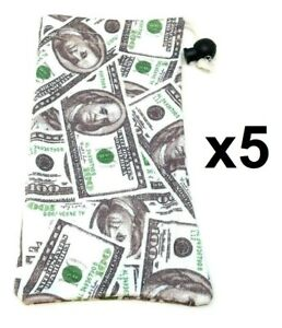5 PACK $100 DOLLAR BILL CASH MONEY SUNGLASSES EYEGLASSES CLOTH POUCH BAG CASE