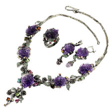 REAL AAA PURPLE AMETHYST FLOWER CARVING, TOURMALINE & CZ STERLING 925 SILVER SET