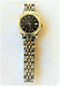 VTG WATCH ROLEX OYSTER PERP DATE LADY 18K GOLD & SS EXCL WKG COND REF 6917 1981