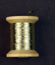 Embossed Metal/Mylar Tinsel Wooden Spool Gold (size 10/12) 8.5 Yards