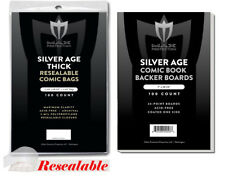 100 Silver Resealable THICK Comic Poly Bags and Boards Max Archival Book Storage