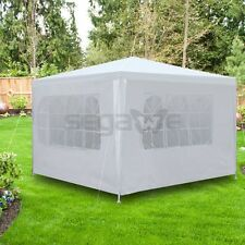 Outdoor 10'x10' Canopy Party Tent Wedding Cater Gazebo White With 4 Side Walls
