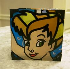 Enesco Disney Britto Tinker Bell Square Glass Votive Candle Holder #4019369 Nib