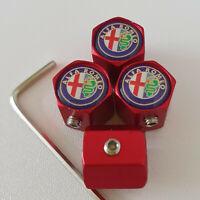 ALFA ROMEO Matte Red Locking Anti Theft Wheel Valve Dust caps all models colors