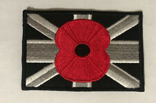 Union Jack Poppy Embroidered Sew on Iron on Brand New National Patch #471