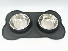 Black Silicone Dog or Cat Food and Water Bowl Tray Set No Spill Mat Feeder