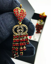 GUCCI RED CRYSTAL STRAWBERRY GG DROP EARRINGS