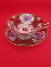 EXQUISITE HAND PAINTED AND GILDED BEADING NORITAKE CUP AND SAUCER EARLY MARK.