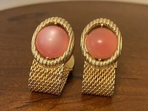 Swank Vintage Gold Tone Pink Cabochon Mesh Wrap Cuff links