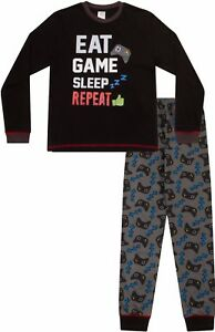 Boys  Eat Sleep Game Repeat Controller Long Pyjamas 8 to 15 Years AOP W17