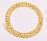 3mm Moon Cut Ball Bead Chain Necklace Solid 14K Yellow Gold Clad 925 Silver