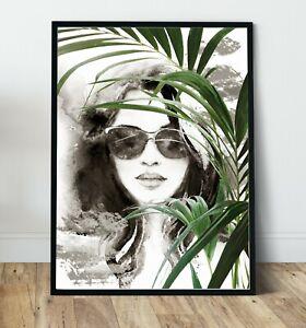 Jodi ,palm,watercolour portrait Wall Art Print, Canvas A4,A3,A2,A1,A0, On trend