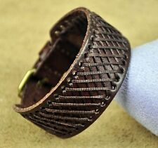 B25 Cool Single Band Hemp Braided Vintage Leather Wristband Cuff Bracelet Brown