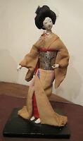 antique handmade wood linen Geisha girl statue figure sculpture real hair detail