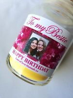 Personalised Photo Birthday CANDLE LABEL Sticker Gift for Friend, Mum, Sister.