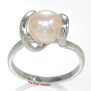 Pink Cultured Pearl on Solid 925 Sterling Silver Ring w/ Twin-Line Accent - TPJ