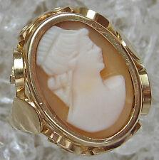 Nice🎁Antikringe aus 14kt 585 Gold Antikring mit Gemmen Ring Muschel Gemme Kamee