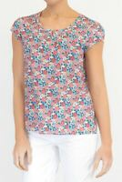Womens Seasalt Top Pink Garden Gate Rose Floral Blouse Tee Cotton Casual Work