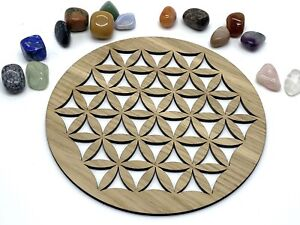 Flower Of Life Sacred Geometry Wooden Crystal Grid Metaphysical Healing Energy