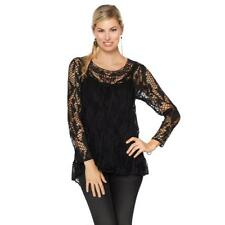 Colleen Lopez Women's Grace Crochet Top with Camisole Black X-Small Size HSN $60