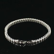 "925 Sterling Silver Genuine Solid Ladies CZ Round Tennis Bracelet 7.5"" 3.7gr"