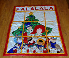 "60""x49"" Christmas throw blanket quilt handmade Dickens Carolers"