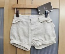NWT Mayoral Baby Girl Metallic Linen Ruffled Shorts in Beige ~ Size 6 Months